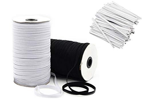 Elastic Bands for Sewing 1/4 inch for Masks, Elastic String for Masks, 10 YD Black, 10 YD White with 40 Nose Bridge Strips, DIY Face Mask