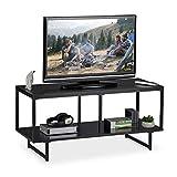 Relaxdays Mueble TV con 2 Repisas, Mesa Televisión, Diseño Moderno, DM y Metal, 50,5 x 110,5 x 45,5 cm, Negro