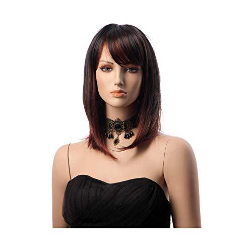 Pelucas cortas Bob vino rojo para las mujeres recta Borgoña peluca lateral franja