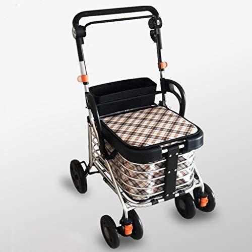 ShenZuYangShop Winkelwagen lichtgewicht draagbare walker rollator vierwielige gehandicapte voedsel winkelwagen en oude koolstofstaal in hoogte verstelbare inklapbare winkelwagen