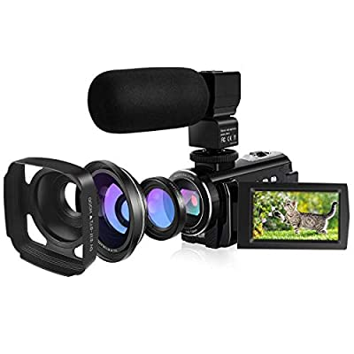IEBRT Video Camera Camcorder, 4k HD Vlogging Camera for YouTube, 48MP 16X Digital Zoom IR Night 3.0 Inch Touch Screen with Wide Angle & Macro Lens, Microphone, WiFi Funtion, 2 Batteries, Lens Hood from IEBRT