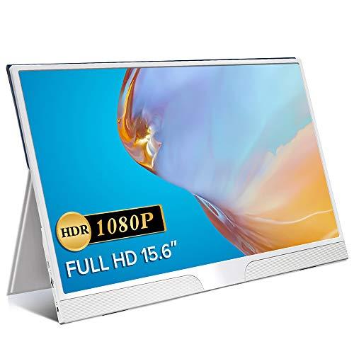 EVICIV 15.6インチ モバイルモニター ホワイト 薄型 モバイルディスプレイ 狭額縁 最軽量 644g USB Type-C/mini HD/PD PSE認証済み 保護ケース/3年保証付