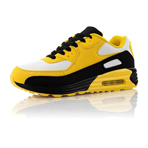 Fusskleidung® Damen Herren Sportschuhe Dämpfung Sneaker leichte Laufschuhe Weiß Schwarz Gelb EU 43