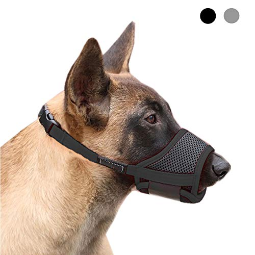 JWPC Nylon Dog Muzzle - Adjustable Quick Fit pet Muzzle Prevent from Biting Barking and Chewing for Small Medium Large Dogs,Black L