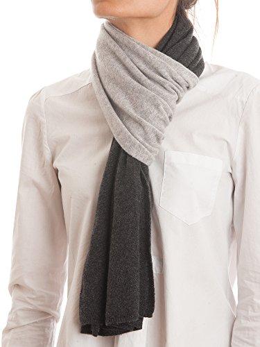DALLE PIANE CASHMERE - Sciarpa bicolore 100% cashmere - Uomo/Donna, Colore: Grigio, Taglia unica