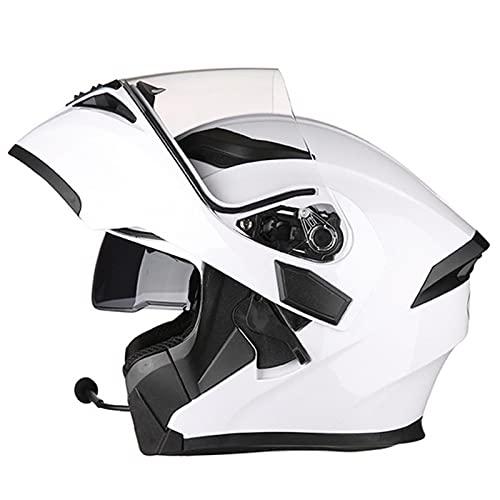 Bluetooth Integrado Modular Casco Moto Integral Casco con Doble Visera, para Montar Al Aire Libre Apto para Scooter Locomotora de Ciclomotor Chopper, ECE Homologado White,XXXL