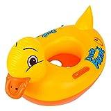 GEMVIE Flotador de Bebé Piscina Inflable con Manija Anillo de Seguridad Pato Amarillo Longitud/88cm