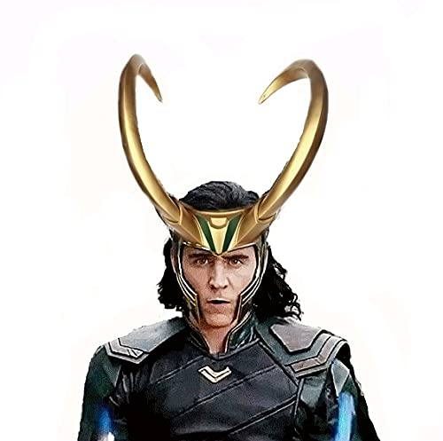3D Loki Helmet with Horns Cosplay, Thor Ragnarok Crown Norse Mythology Halloween Party Prop Latex Costume Mask God (Gold B)