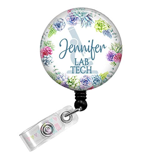 Lab Tech - Microscope - Cute Succulents - PERSONALIZED - Button Badge Reel - BR0137
