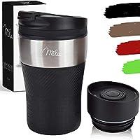 milu tazza termica da viaggio per caffè 210ml - 100% a prova di perdite - isolata tazza di caffè e tè da portare via tazza termica da bere in acciaio inossidabile - caldo e freddo - nero