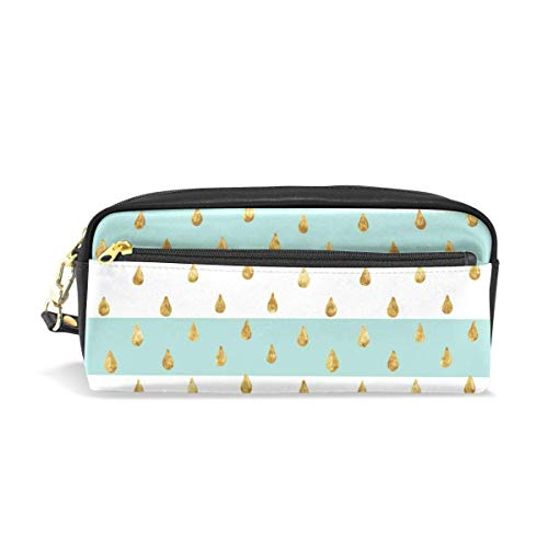 Yuanmeiju Pencil Case Gold Glittering Drops Student Stationery Pen Pencil Case Holder Bag for School Office Storage Organizer