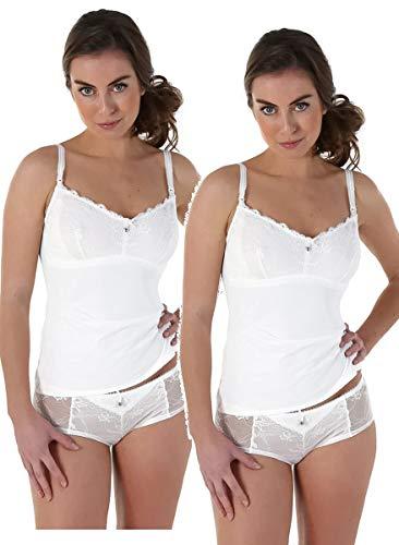 Petit Amour Damen Stillwäsche Emma Still-Top mit Spitze PA-LI-0058 (M (Cup C/D/E), Stilltop 2er Pack(weiß))