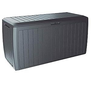 Deuba Baúl de Almacenamiento Board Plus Antracita para Exterior e Interior arcón de almacenaje Accesorios cojínes jardín