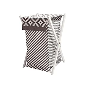 Bacati Love Grey Kids Storage (Hamper Cover with Wooden Frame)