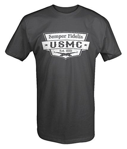 Lifestyle Graphix Semper Fidelis USMC EST 1775US Marines Militares T Shirt