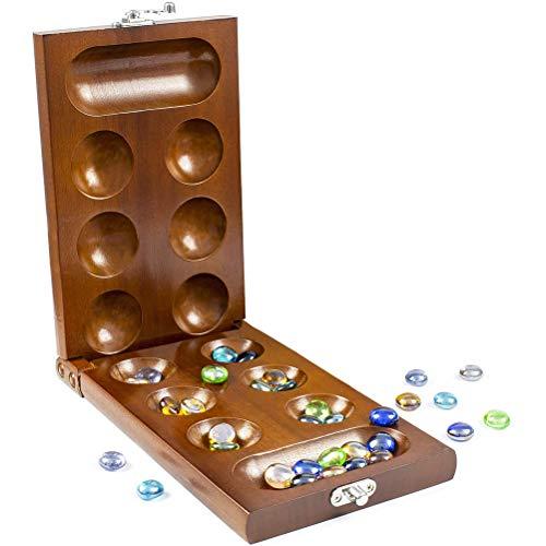 UFAVOR Mancala Brettspiel - Kalaha Brettspiel mit faltbaren Holzbrett Natursteinkieseln -Familien Brettspiele