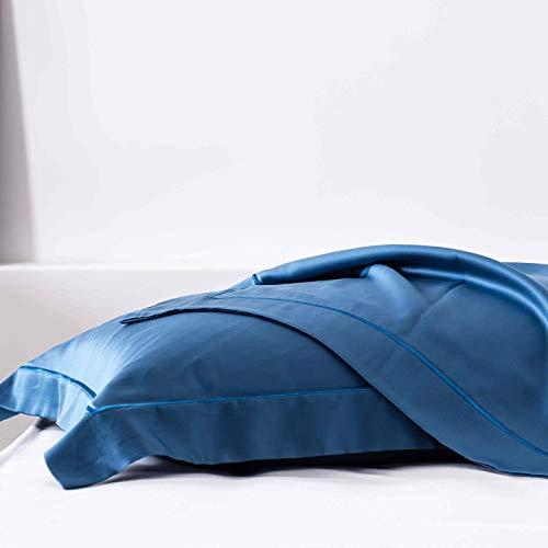 KEPOHK Funda de Almohada Azul Noble de Seda para Hombre, Funda de Almohada Momme Beauty para Mujer, Funda de Almohada Sedosa y Saludable para Regalo, 2 uds, Azul Zafiro