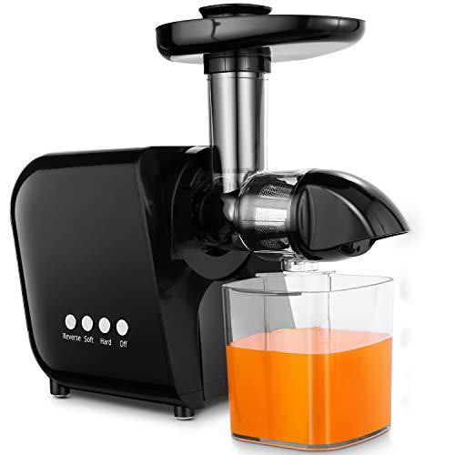 COOCHEER Entsafter Slow Juicer, Anti-Oxidation Juicer Extractor mit geräuschlosem Motor, Saftauffangbehälter und Reinigungsbürste für einen nährstoffreichen Saft