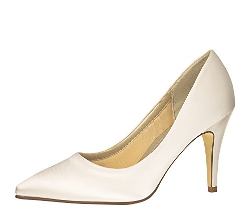 Rainbow Club Brautschuhe June - Pumps Ivory Satin - High Heels Damen - Gr 37 EU 4 UK