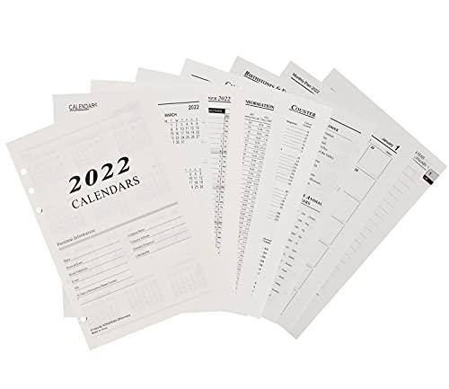 2022 A5 Ricarica Carta Fogli - simyron Carta A5 Fogli Sciolti, Ricarica di Carta 6 Fori Formato per Agende, Planner, Diari, Progetti Fai-da-te, 180 Fogli/360 Pagine,20,6 x 14 cm