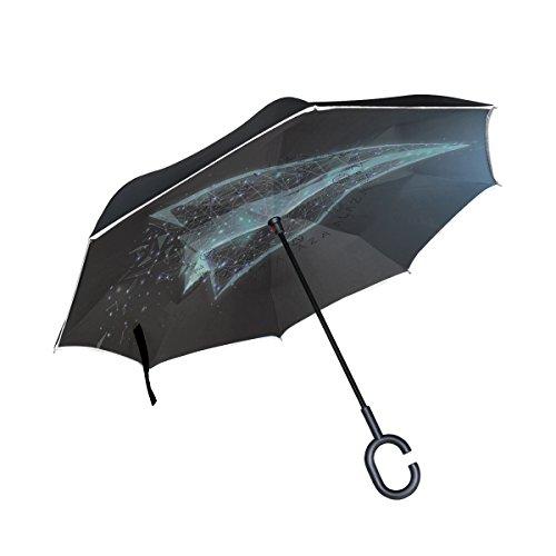 isaoa Große Schirm Regenschirm Winddicht Doppelschichtige seitenverkehrt Faltbarer Regenschirm für Auto Regen Außeneinsatz,C-förmigem Henkel Regenschirm Flugzeug der Wissenschaft Regenschirm