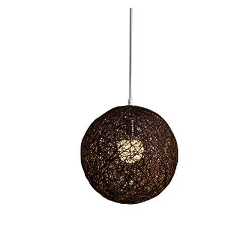 Ehgntijkmjiali Coffee Bamboo Rattan And Hemp Ball Chandelier Individual Creativity Spherical Rattan Nest Lampshade (Body Color : Chocolate)