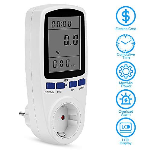 Strommessgerät, Redmoo Energiekostenmessgerät Stromverbrauchszähler mit LCD-Digitalanzeige, 7 Energiesparenden Anzeigemodi Überlastsicherung Stromzähler Steckdose Elektrizitäts-Analysator