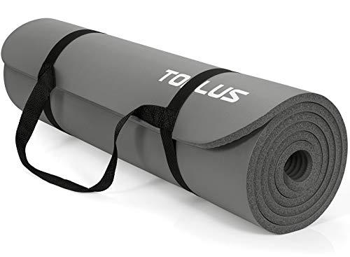 TOPLUS Verdickte Gymnastikmatte Phthalatfreie Yogamatte rutschfest und gelenkschonend Sportmatte für Yoga Pilates Sport mit praktischem Trageband Pilatesmatte 183 * 61 * 1 cm, Grau