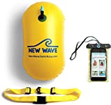 New Wave Swim Bubble for Open Water Swimmers and Triathletes - No Dry-Bag - Waterproof Phone Case & Swim Bubble Bundle (Yellow)