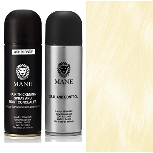 Mane Hair Thickening Spray 200 ml with Seal & Control 200 ml Fixing Spray -12 colours (Ash Blonde)