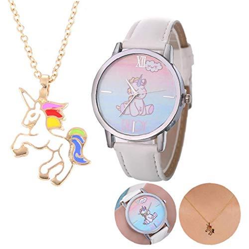 OMMO LEBEINDR Kinder Uhr Analog Quarz-Uhr mit Lederarmband Cartoon Einhorn-Muster-Uhr mit Einhorn-Anhänger-Halskette 1 Set