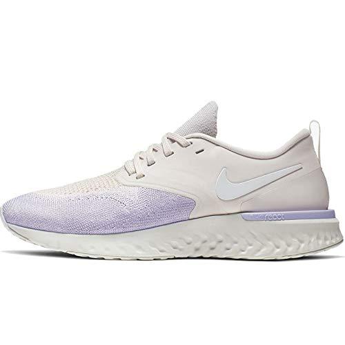 Nike Damen W Odyssey React 2 Flyknit Laufschuhe, Mehrfarbig (Platinum Tint/White-Lavender Mist 5), 41 EU