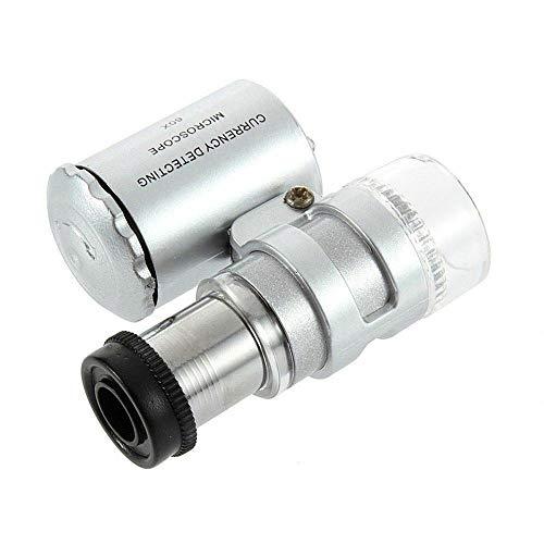 60X Microscope Mini portátil LED de Aumento Lupa Bolsillo Joyas Lupas UV Lupa de luz Microscopio Plata