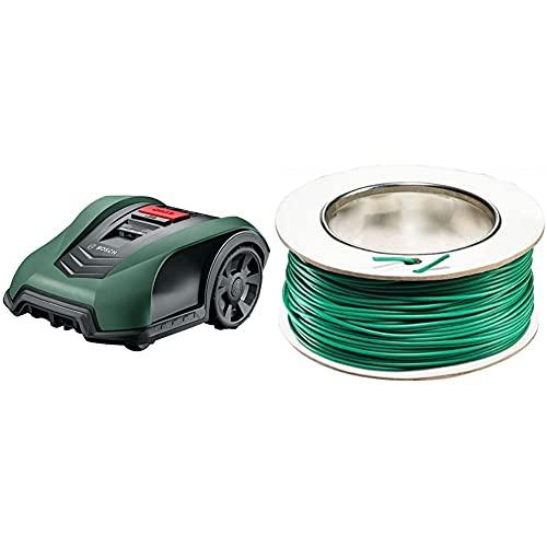Bosch Roboter Rasenmäher Indego S+ 350 (mit App-Funktion, 19 cm Schnittbreite, für Rasenflächen bis 350 m²) & (für Bosch Indego Mähroboter, 100 m)