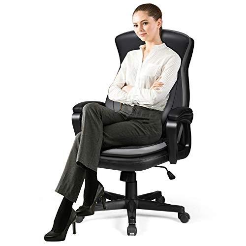 GOPLUS Rollbarer Bürostuhl, Höhenverstellbarer Schreibtischstuhl, um 360° Drehbarer Computer Stuhl, mit Armlehnen, Gepolstert, aus Kunstleder, mit 120 kg Belastbar, für Büro und Home Office