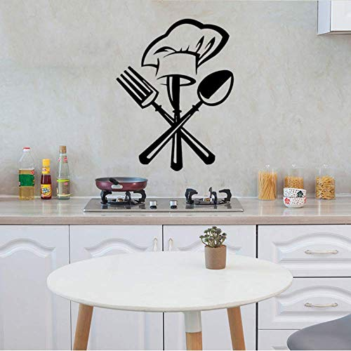 42Cm*36Cm Creative Cutlery Knife Fork Chef Hat Wall Sticker for Kitchen Restaurant Decoration Personality Mural Decals Wall Paper Home Decor Stickers