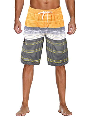Unitop Men's Swim Shorts Relaxed Fit Striped Drawstring Board Shorts Yellow-157 38