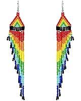 NIGHTCRUZ Long Beaded Tassel Earrings - Boho Sleek Fringe Earrings Statement - Oversized Dangle Earrings (Colorful Earrings)
