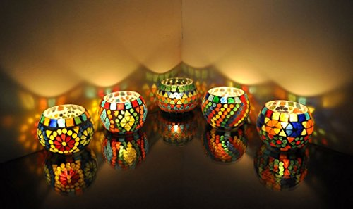 Lalhaveli Mosaic Glass Candle Holder Set 5 (Candles Included)