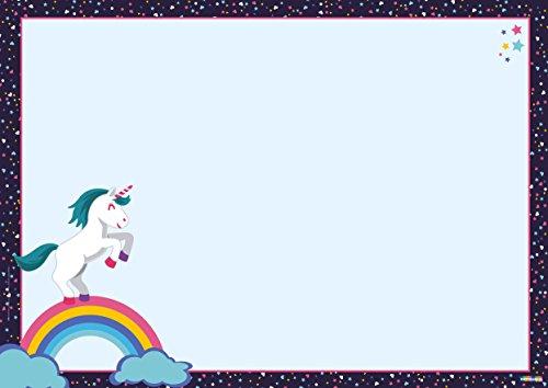 Partycards lustige DIN A3 Schreibtischunterlage für Kinder, Jungs und Mädchen als Block mit 25 Blatt zum Abreißen (Einhorn, DIN A3 ca. 30 x 42 cm groß)