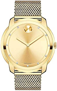 Movado Bold Large Diamond and Gold Plated Mesh Watch 3600460