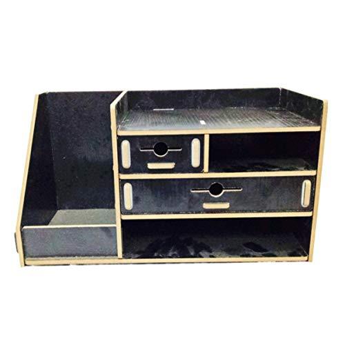 WZhen Caja de almacenamiento de madera de 13,8 x 8 x 8 cm, con cajón, organizador de cosméticos, decoraciones para el hogar de escritorio - 3