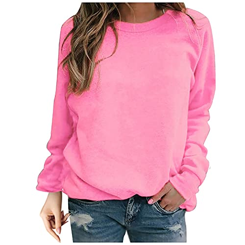 T-Shirt Damen Oversized Casual Lose Damen Einfarbig Langarm Pullover T-Shirt...