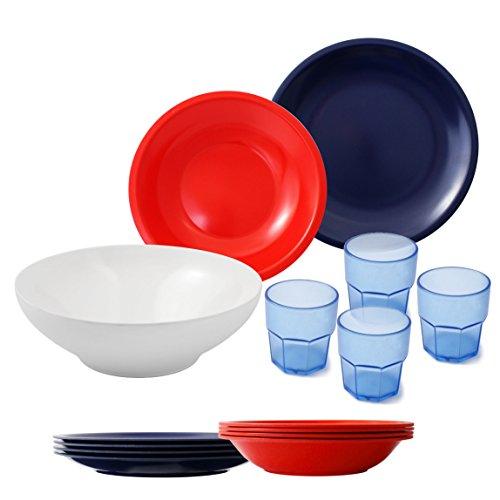 CARTAFFINI Agile Set Camping 14 pièces, mélamine, Rouge/Bleu, 25 cm