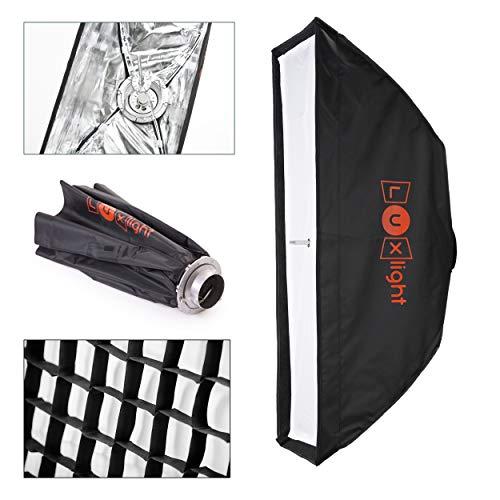 20 x 90cm Bowens Softbox & Honeycomb Grid | Luxlight® | Leicht zu Öffnende Schirm Stripbox