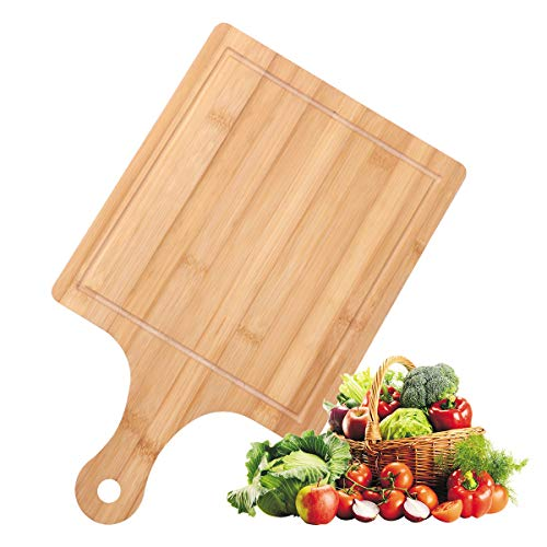 Ivoku Organic Bamboo Cutting Board with Juice Groove 1 Piece,Square fruit board for Kitchen,and Cutting Board with Handle,for Baking Pizza,Bread,Cutting Fruit,Vegetables,Size:(15.75x9.45x0.4 inch)