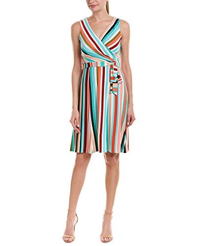 Donna Morgan Women's Faux Wrap Jersey Dress, Fresh Green/Pink Multi, 14