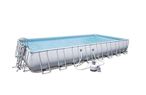 Piscine rectangulaire Power Steel Frame Pools + Filtre à sable (sable NON INCLUS) + Tapis de sol + Bâche + échelle - Bestway - 9.56m x 4.88m x 1.32m