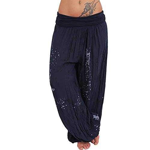 Vertvie Damen Haremshose Lässig Palazzohose Weitgeschnitten Baumwolle Blumenprint Elastischer Bund für Tanz Yoga Pilates Gr. 44, Marine 6