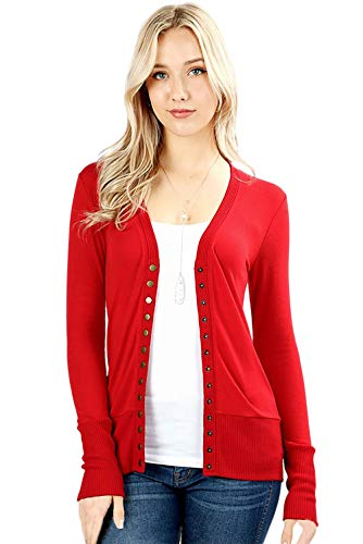 Cardigans for Women Long Sleeve Cardigan Knit Snap Button Sweater Regular & Plus - Ruby (Size 2X)